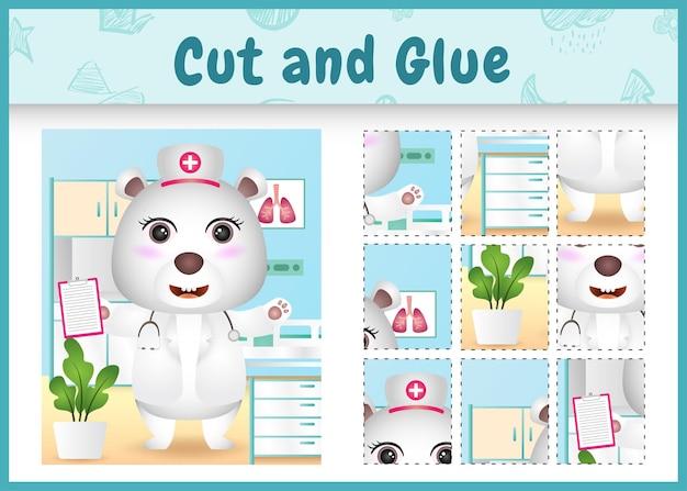 간호사 의상을 사용하여 귀여운 북극곰으로 어린이 보드 게임 잘라 붙이기