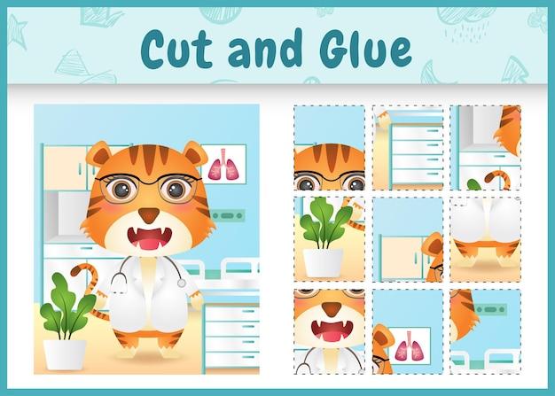 귀여운 호랑이 의사 캐릭터로 어린이 보드 게임을 자르고 붙입니다.