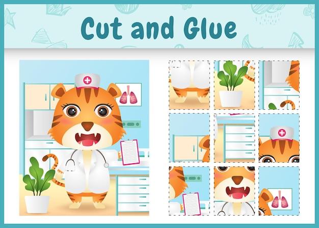 간호사 의상을 사용하여 귀여운 호랑이로 어린이 보드 게임 잘라 붙이기