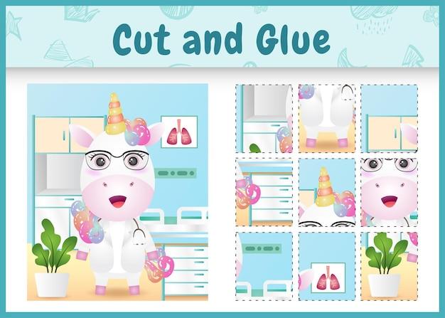 귀여운 유니콘 의사 캐릭터로 어린이 보드 게임을 자르고 붙입니다.