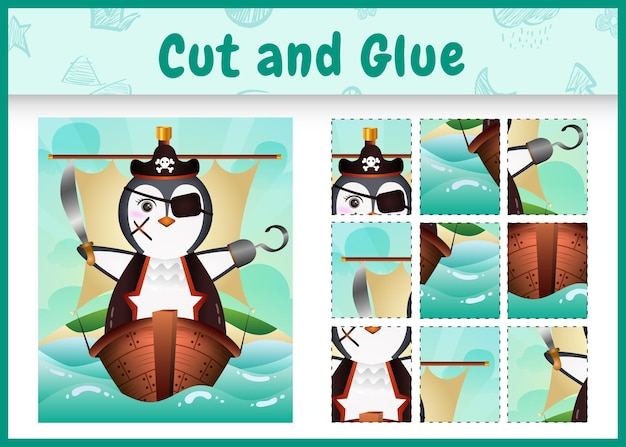 Children board game cut and glue themed easter with a cute pirate penguin character  on the ship