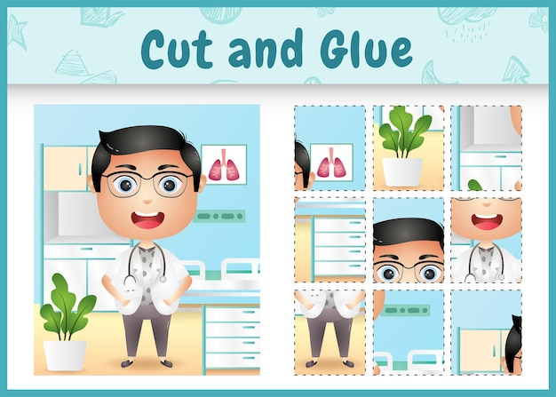 Children board game cut and glue with a cute boy doctor character