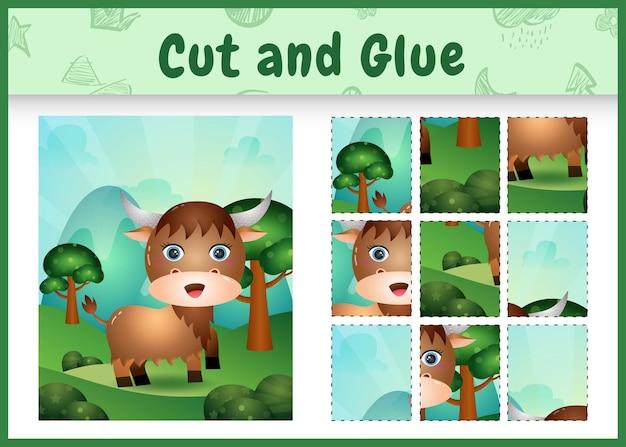 Children board game cut and glue with a cute buffalo