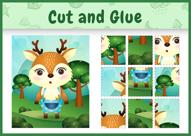 Children board game cut and glue with a cute deer using pants