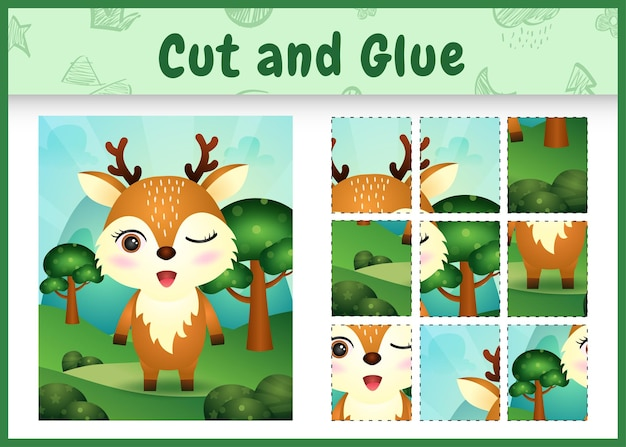 Children board game cut and glue with a cute deer