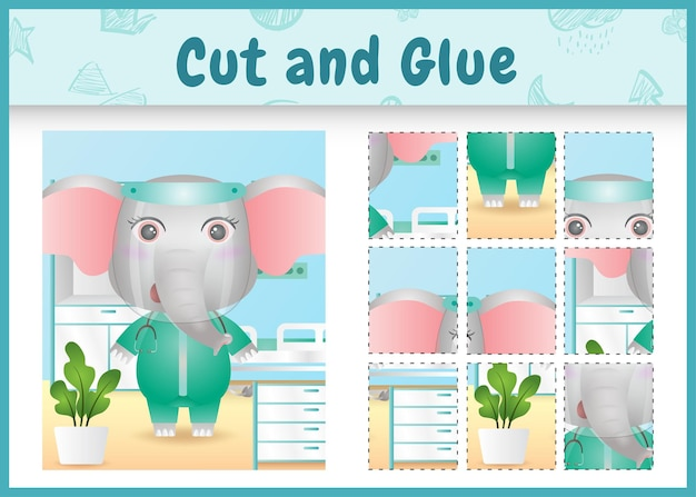 Children board game cut and glue with a cute elephant using costume medical team