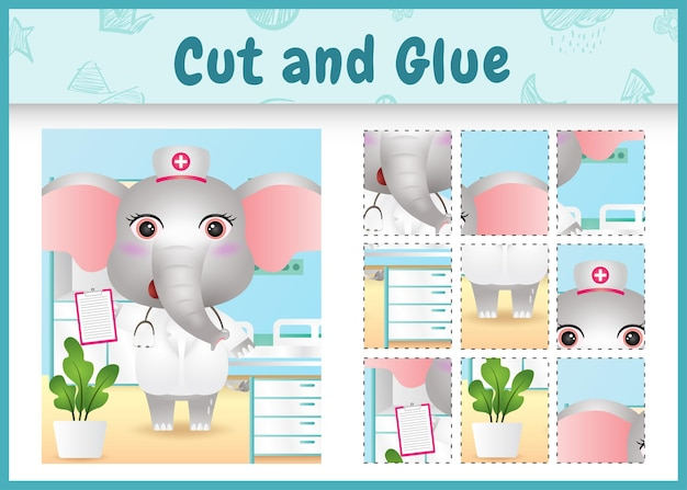 Children board game cut and glue with a cute elephant using costume nurses