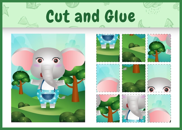 Children board game cut and glue with a cute elephant using pants