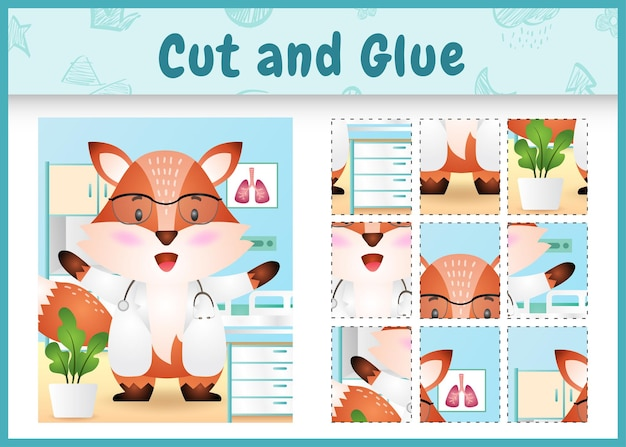 Children board game cut and glue with a cute fox doctor character