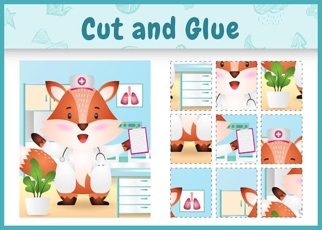 Children board game cut and glue with a cute fox using costume nurses