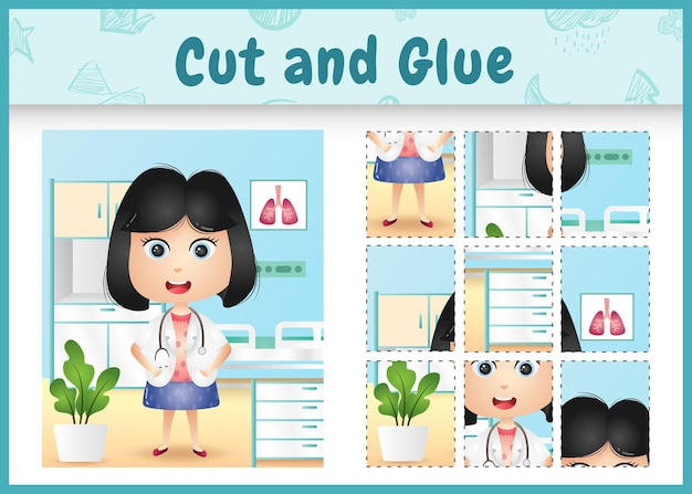Children board game cut and glue with a cute girl doctor character