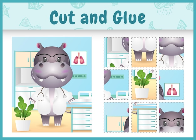 Children board game cut and glue with a cute hippo doctor character