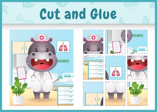 Children board game cut and glue with a cute hippo using costume nurses