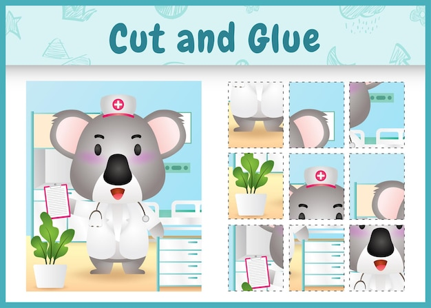 Children board game cut and glue with a cute koala using costume nurses