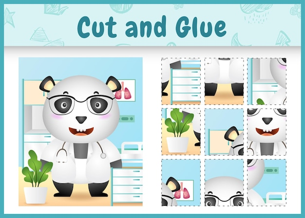 Children board game cut and glue with a cute panda doctor character