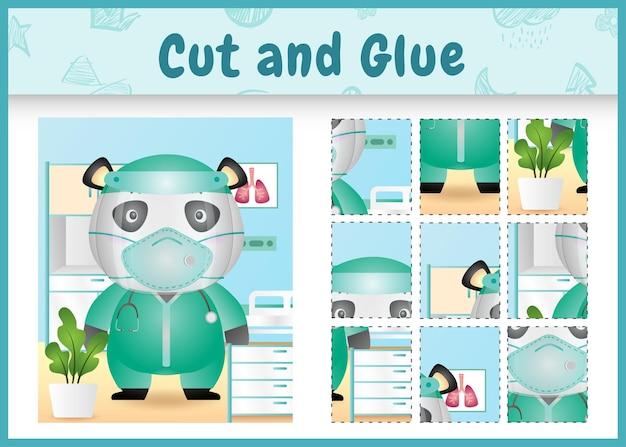 Children board game cut and glue with a cute panda using costume medical team
