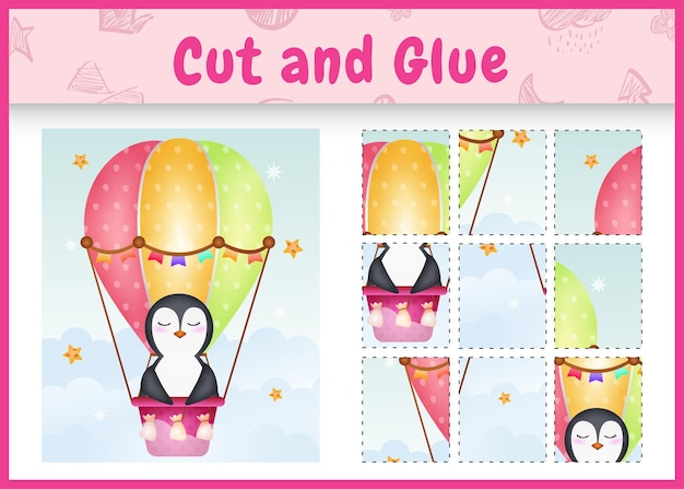 Children board game cut and glue with a cute penguin on hot air balloon