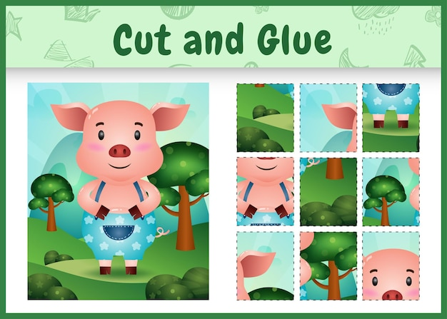 Children board game cut and glue with a cute pig using pants
