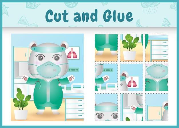 Children board game cut and glue with a cute polar bear using costume medical team