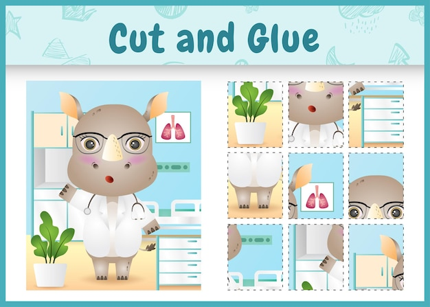 Children board game cut and glue with a cute rhino doctor character