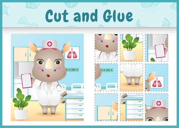 Children board game cut and glue with a cute rhino using costume nurses