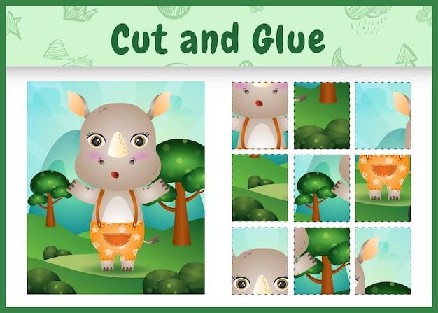 Children board game cut and glue with a cute rhino using pants