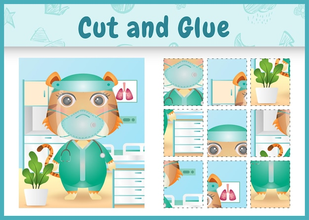 Children board game cut and glue with a cute tiger using costume medical team