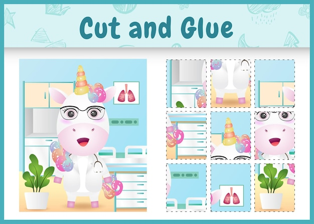 Children board game cut and glue with a cute unicorn doctor character