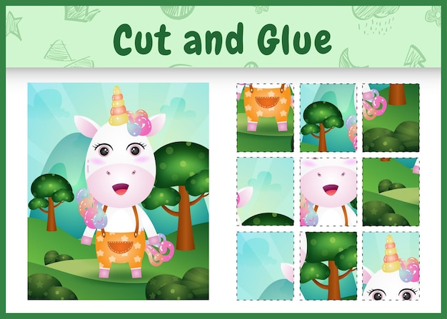 Children board game cut and glue with a cute unicorn using pants