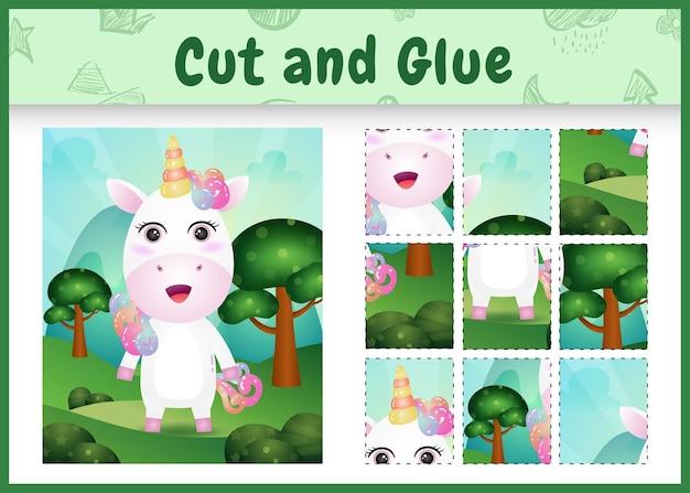 Children board game cut and glue with a cute unicorn
