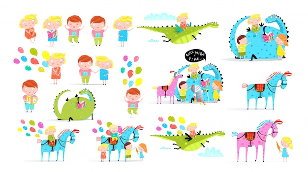 Children book flat illustrations set. little boy with air balloons in amusement park stickers pack. happy girl riding dragon. carnival horses isolated cliparts. toddler reading fairytale