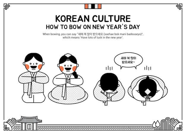 Children bowing on new years day drawn with lines
