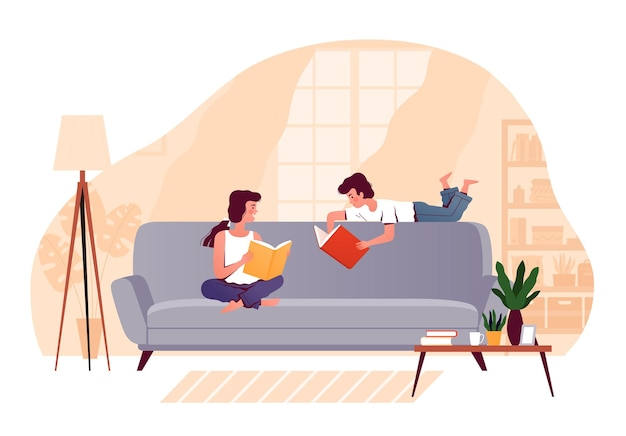 Children boy and girl are sitting on the sofa in the living room