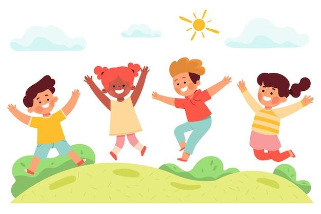 여름 그림에서 공원에서 어린이 소년 소녀 즐거운 점프