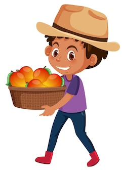 과일 또는 야채 흰색 절연 어린이 소년