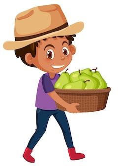 Детский мальчик с фруктами или овощами на белом фоне
