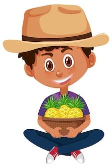 Детский мальчик с фруктами или овощами на белом