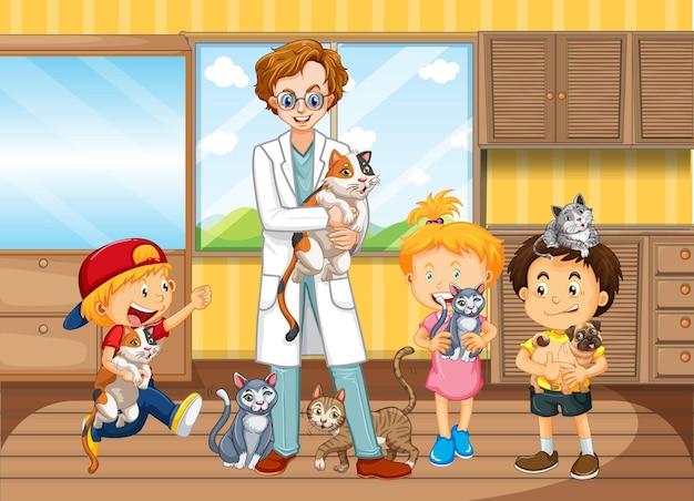 아이들은 애완 동물을 데리고 수의사에게 진찰을받습니다.