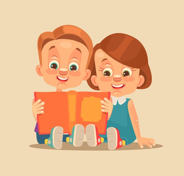 Children brother and sister characters read book.