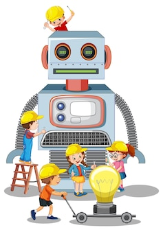 白い背景の上に一緒にロボットを構築する子供たち