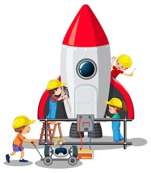 白い背景の上に一緒にロケットを構築する子供たち