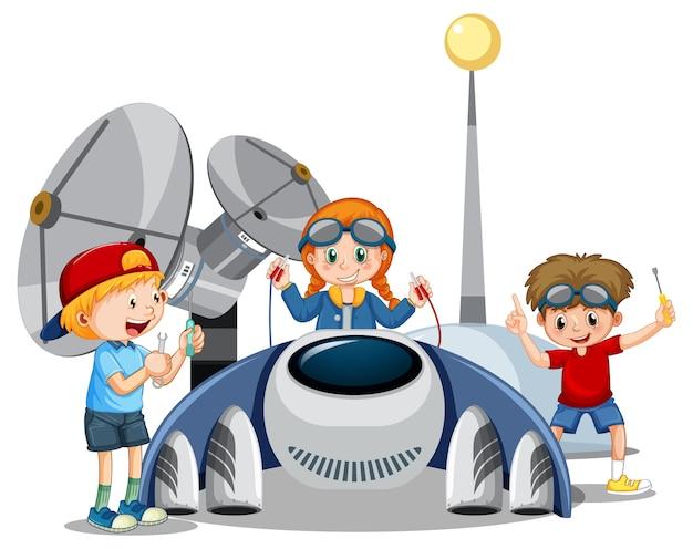 白い背景の上に一緒に宇宙船を構築する子供たち