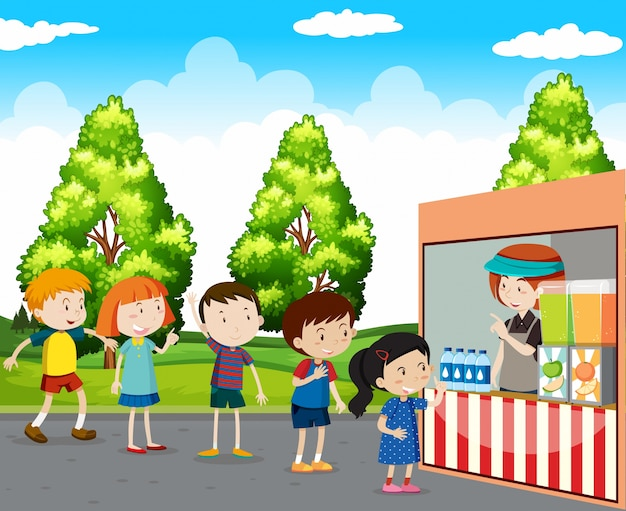 Children buying drinks in park