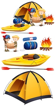 Children camping out with camping set