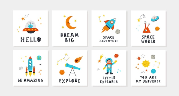 Children cards set with cute space and with lettering. rocket, planets, stars, child, telescope, sun, aliens. perfect for nursery posters. vector hand drawn illustrations.