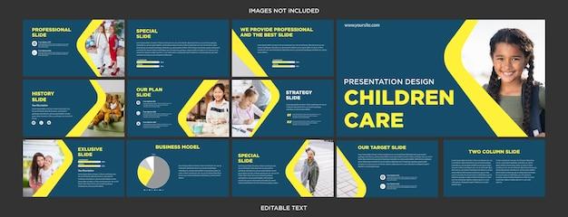 어린이 케어 프레젠테이션 디자인 슬라이드