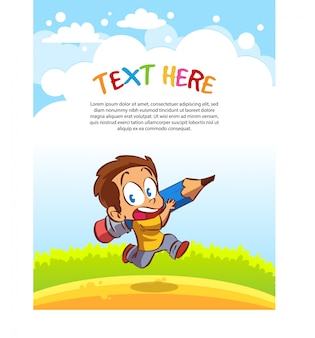 Children carry large pencils. text template