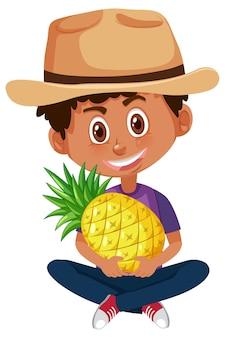 Детский мультипликационный персонаж, держащий фрукты или овощи, изолированные на белом фоне