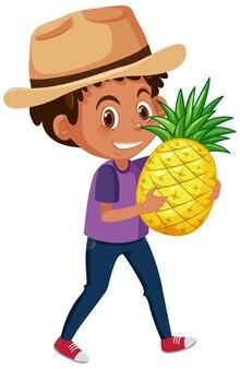 白い背景で隔離の果物や野菜を保持している子供の漫画のキャラクター