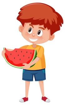 과일이나 야채를 들고 어린이 만화 캐릭터